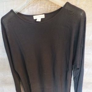 Lord & Taylor Sexy Heavy Knit Sheer Black Shirt